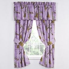 Realtree All Purpose Lavender Curtains & Valance- Camouflage & Hunting Decor. goes great with my room at home! Camo Curtains, Window Curtains, Curtain Valances, Purple Curtains, Camo Nursery, Girl Nursery, Country Cottage Bedroom, Purple Camo, Kitchen Window Treatments