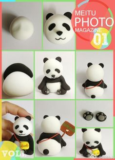 How to make a panda in cold porcelain Polymer Clay Figures, Polymer Clay Animals, Fondant Figures, Fimo Clay, Polymer Clay Projects, Polymer Clay Charms, Clay Crafts, Cake Topper Tutorial, Fondant Tutorial