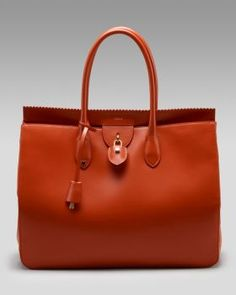 Rochas leather lock tote - I like the zigzag leather detail at the top closure.
