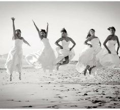 This a fun idea! After the last friend in your group gets married, everyone puts on their wedding gowns one last time for a photo shoot, just like this one! Do you like this idea?    Photo via Wedding Day Pinterest Pin Blog.