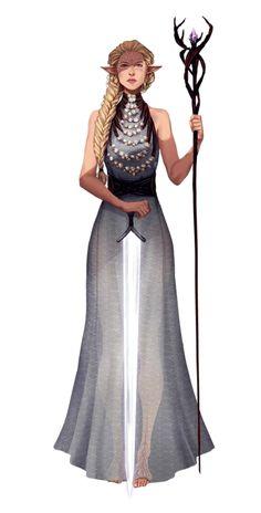 Female Elf Eldritch Knight Wizard - Pathfinder PFRPG DND D&D 3.5 5th ed d20 fantasy