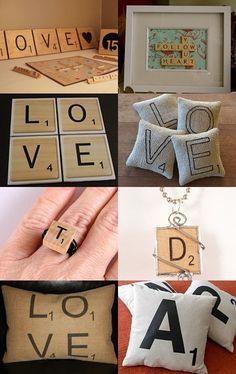 Custom Scrabble letter rings and pendants