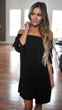 35a5b7af4c8 Black Off The Shoulder Tie Sleeve Tunic - Dottie Couture Boutique