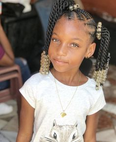 Nice and neat braids on this little beauty😍⁣ ⁣ Love this braid and twist style by @crissie_beauty_bar 🥰 Cute Hairstyles For Kids, Kid Hairstyles, Black Girls Hairstyles, Braided Hairstyles, Little Girl Braids, Girls Braids, Little Girls, Easy Braid Styles, Beauty Bar