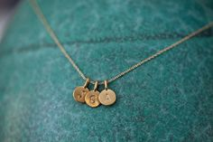THREE Charms TIny Initial Necklace in 14k Gold Vermeil for initials