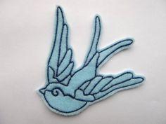 Blue Swallow Felt Animal Applique Patch