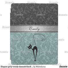 Shop Elegant girly trendy damask black cat monogram iPad smart cover created by Makidzona. Ipad Covers, Ipad Accessories, Older Models, Acrylic Art, Cat Gifts, Apple Ipad, Damask, Colorful Backgrounds, Girly