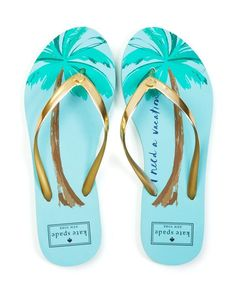 Get on island time with kate spade new york's artful palm tree-print flip flops…