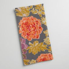 Make any meal more mouthwatering with our deep gray napkins, blooming with bright succulents in purple, rust and honey hues.
