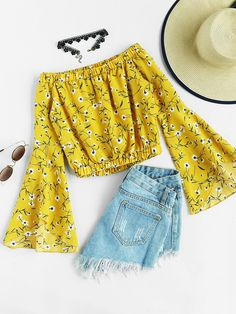 Yellow Off Shoulder Random Floral Print Fluted Sleeve Blouse