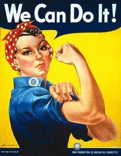 Rosie the Riveter - Rosie La Riveteuse, icône symbole des 6 millions de femmes américaines qui travaillèrent dans l'industrie de l'armement américaine, fournissant le matériel de guerre pendant que les hommes étaient sur les champs de bataille. A la démobilisation, elles furent priées de retourner à leurs casseroles. #Patriarcat. http://hypathie.blogspot.fr/2011/03/8-mars.html