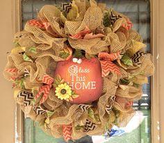 Pumpkin Fall Chevron Wreath  22 26 or 30 inch by SignsBYDebbieHess, $55.00