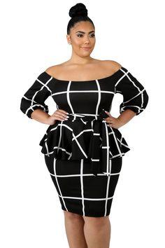 f00d5036d65 Black White Plaid Print Plus Size Peplum Dress Plus Size Maxi Dresses