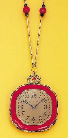Lacquer, enamel and coral pendent watch    ~~~~      with nickel finished jewelled lever movement, the bronze coloured dial with Arabic numerals, triangular and navette-shaped batons enclosed in a red enamel bezel to the black enamel border, the reverse designed as a red and black lacquer floral panel, suspended from a cylindrical-link, coral and onyx bead neckchain, circa 1922, with French assay mark, dial signed by Fouquet, movement by Vacheron & Constantin, numbered.