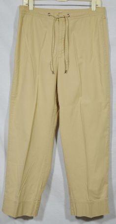 LIZ CLAIBORNE LIZWEAR JEANS TABITHA Tan Stretch Cotton Drawstring Pants 12…
