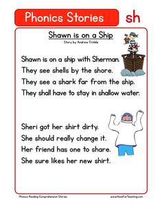 This Reading Comprehension Worksheet - Shawn is on a Ship is for teaching reading comprehension. Use this reading comprehension story to teach reading comprehension.