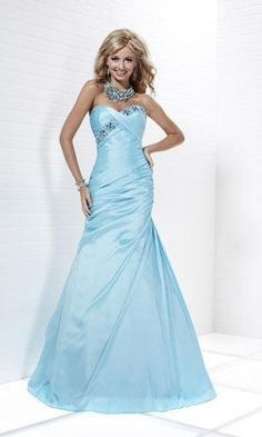 Baby blue strapless ball gown