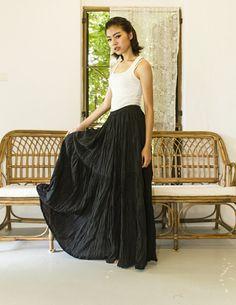 Black Gypsy Skirt - Boho skirt c0747e9a4e37