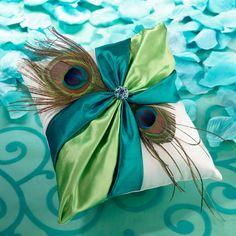 Peacock Wedding Ring Pillow