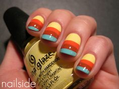 Horizontal stripes tape manicure.