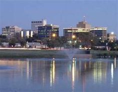 Midland Texas.  Looking at downtown from the A street duck pond.