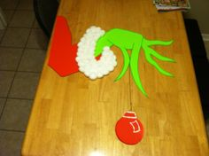 The grinch- my door decoration this year!