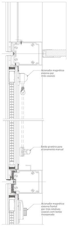 Corte do caixilho do pavimento-tipo com persiana entre vidros