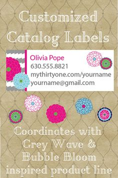 Thirty One Consultant Catalog Label Bubble Bloom and Grey Wave Inspired Design $7.00 Fully Customized PNG High Res