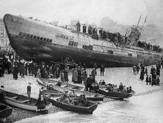 A German U-boat stranded on the South Coast of England, after surrender, c.1918