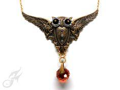 Winged OWL Necklace Swarovski Red Magma Crystal Rhinestone Eyes Fantasy Victorian Style Steampunk Ox Plated Brass Solid Brass Chain N0662 by FANTASTICALITYbyRTD on Etsy https://www.etsy.com/listing/268079318/winged-owl-necklace-swarovski-red-magma