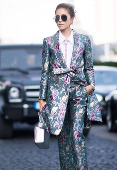 wedding guest outfits: Floral co-ords or a jacquard suit works well as a wedding guest outfit