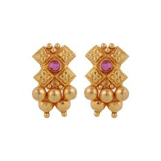 Traditional Gemstone Gold Earrings by Waman Hari Pethe. Shop online at Velvetcae.com