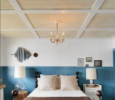 DIY dream! Plywood and white plank box border ceiling = cheap and unexpected natural glam!