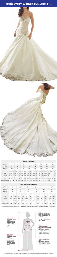 Mella Ivory Women's A-Line Sweetheart Beaded Taffeta with Lace Trim Wedding Dresses 2017 for Bride US02. Mella Women's A-Line Sweetheart Beaded Taffeta with Lace Trim Wedding Dresses 2017 for Bride Taffeta a line wedding dress with chapel train, the allure of elegance in dream taffeta A-line gown will create an once-in-a-lifetime day. The strapless sweetheart neckline features lace appliqués encrusted with sparkling crystal hand-beading. Showcasing all of the details we love in this gown...