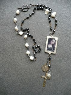 Handmade necklace using vintage rosary, cross, and medal, beautiful baroque pearls, a pendant filled with ice resin and a beautiful angel image, ...