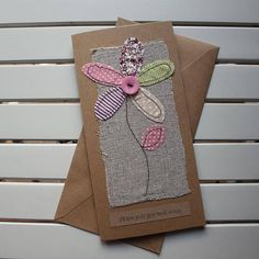 Get Well Soon Card – Handmade Original Textile Card – Machine Embroidered – Rustic Flower- Hope You Get Well Soon - DIY und Kunst Freehand Machine Embroidery, Free Motion Embroidery, Free Machine Embroidery, Fabric Cards, Fabric Postcards, Paper Cards, Kirigami, Card Machine, Sewing Cards