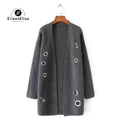 Knitted Sweater Jacket Tops Cardigan Female Long Sleeve Casual Loose Sweater Jacket Coat Outwear Women #Eileen&Elisa #sweaters #women_clothing #stylish_sweater #style #fashion