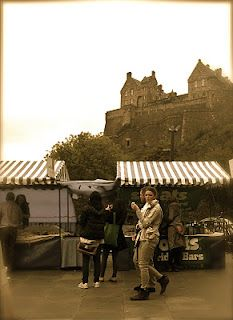 Edinburgh Farmers' Market ... watched over by the Castle.