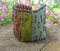 Cuff: Middle Earth Peyote Stitch Bracelet Cuff by MCBDdesigns