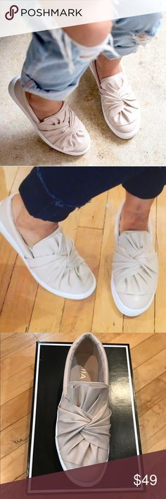 Mia Zoe Slip-On The Mia Zoe bow sneaker is perfect for your casual weekend ensemble. Slip on these feminine flatforms and show off your trend-setting athleisure style. Faux leather with bow twist and round toe.  Only reasonable offers will be considered as all items are brand new with box. MIA Shoes Sneakers