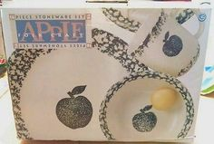 TIENSHAN FOLK CRAFT SPONGE APPLE STONEWARE New In Original Box 16 Piece Set
