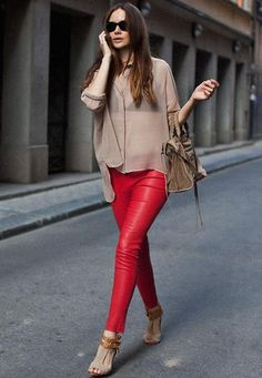 Red leather leggins chic