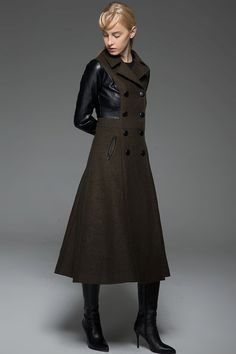 Wool & Leather Long Coat  Black Brown Modern by YL1dress on Etsy