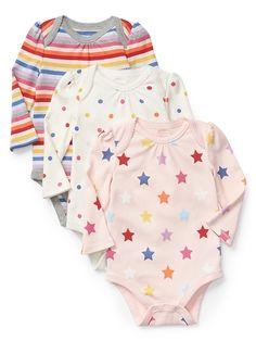 Gap Baby Crazy Stripe Long Sleeve Bodysuit (3-Pack) Crazy Stripe