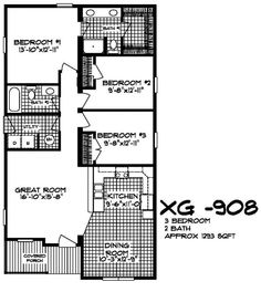 The XG-908 floor-plan.  A 3 bedroom / 2 bath modular home available at XtremeGreenHomes.com.