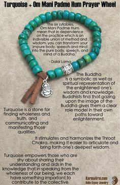 gemstone mala yoga bracelet - Om Mani Padme Hum Prayer Wheel: Turquoise + Buddha Charm Yoga Mala Bead Bracelet - Karma Arm. - 3