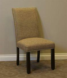 Burnett Parsons Chair in Sand Woven Burlap Upholstery