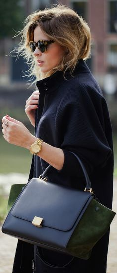 In love with Celine Trapeze bag Looks Street Style, Looks Style, Style Me, Black Style, Fashion Mode, Look Fashion, Womens Fashion, Fashion Trends, Fashion Outfits