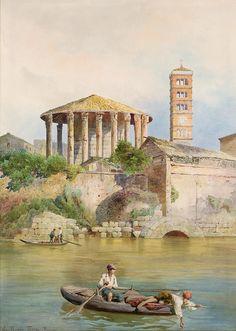 View of the Sbocco della Cloaca Massima, Rome (w/c on paper) by Roesler Franz, Ettore (1845-1907)