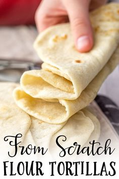 Easy Flour Tortillas From Scratch These easy homemade flour tortillas will take tacos, enchiladas, burritos, and more to the next level with simple ingredients. Use your hands or an electric mixer to make them from scratch with just 5 simple ingredients. Recipes With Flour Tortillas, Homemade Flour Tortillas, Recipes With Flour Dinner, Flour Recipes, How To Make Tortillas, Recipes Dinner, Lunch Recipes, Mexican Dishes, Mexican Food Recipes